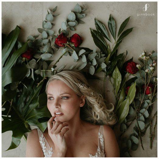 bride on flowers