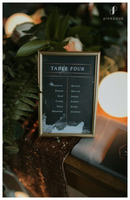 black wedding menu