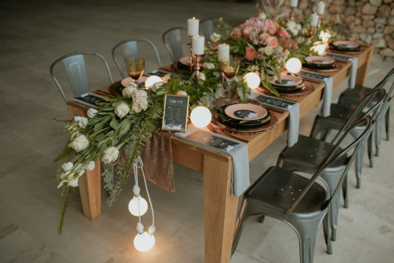 Wedding decoration ideas industrial theme metalic tones greenery industrial wedding decoration ideas junglespirit Image collections