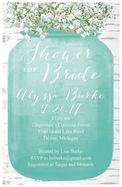 Blue Bridal Shower Invite