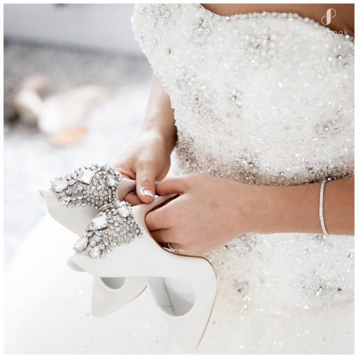 white wedding shoes with bling