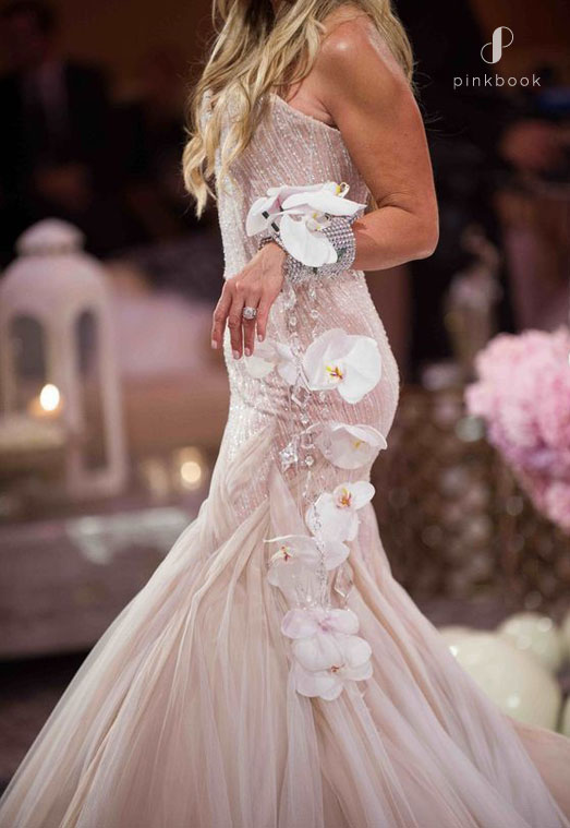 stunning hanging wrist bouquet