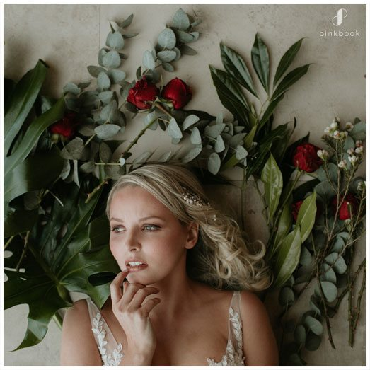 bride on flowers