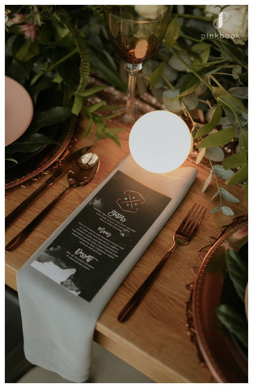 Contemporary wedding menu