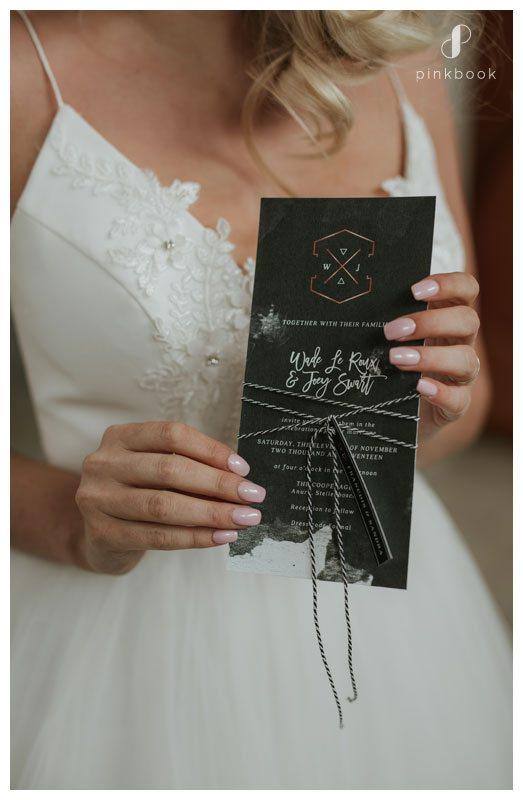 Bride with menu