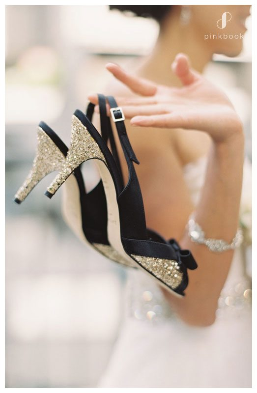 black and gold bridal shoes