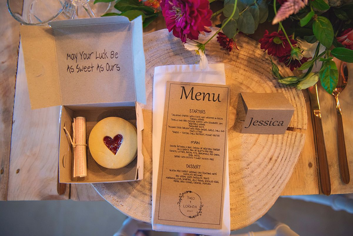 rustic wedding menu and decor