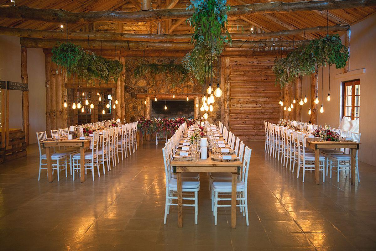 log cabin wedding reception