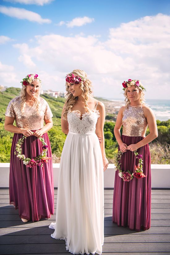 bride and bridesmaids wine dresses