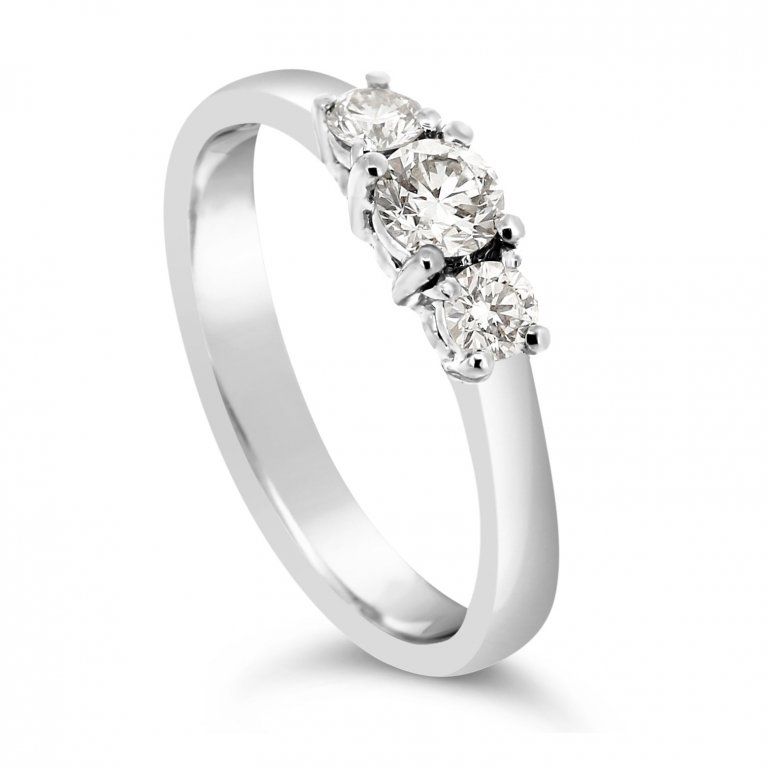 Crown Set Trilogy Diamond Ring