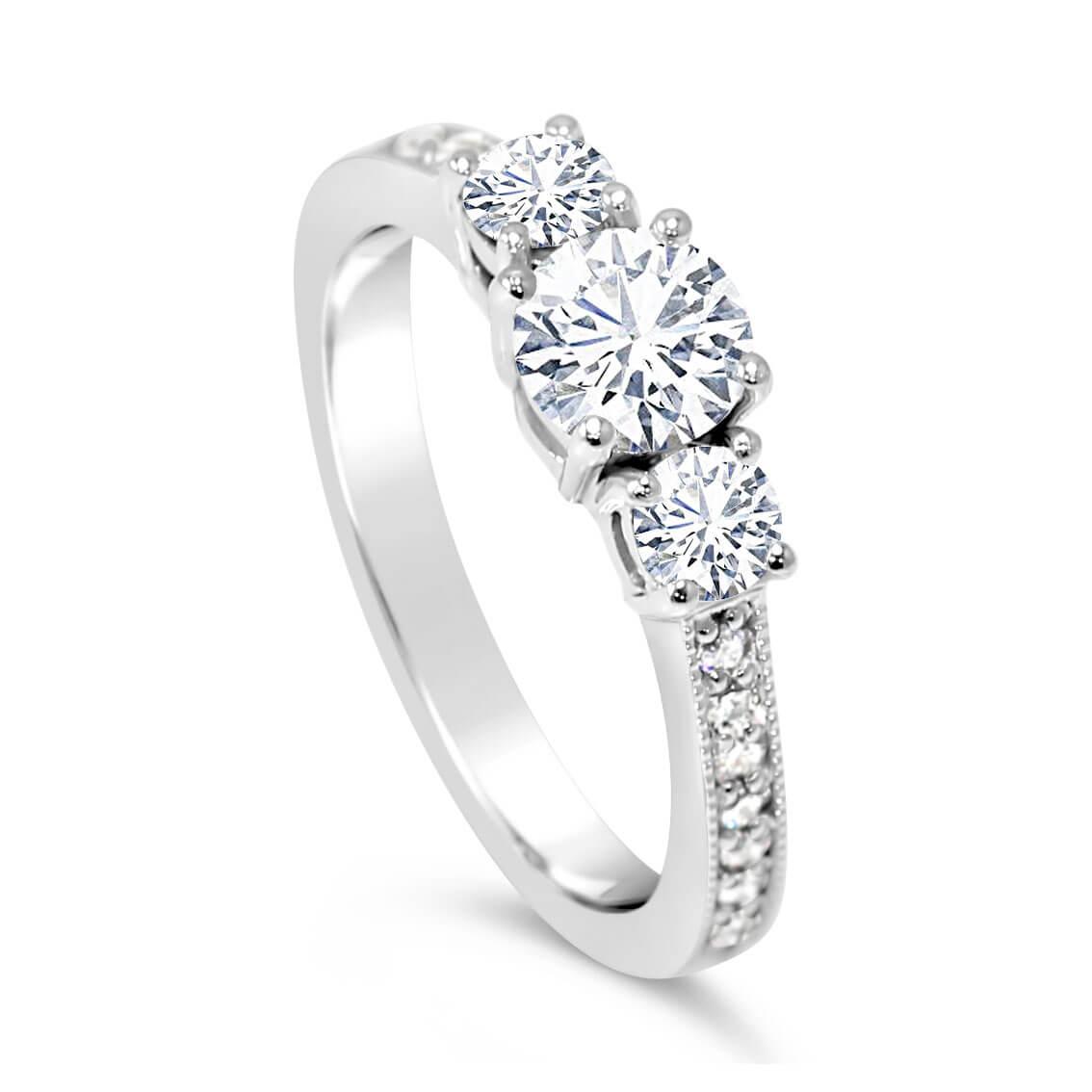 Trilogy Diamond Engagement Ring Band