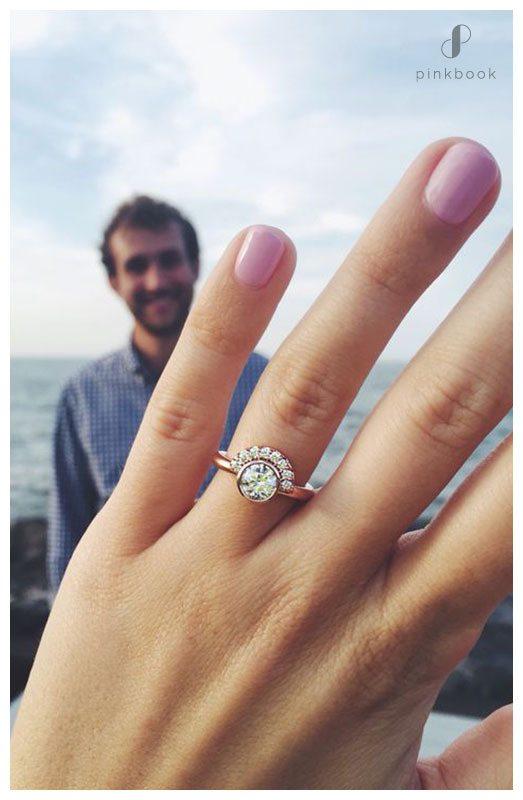engagement ring on ring finger