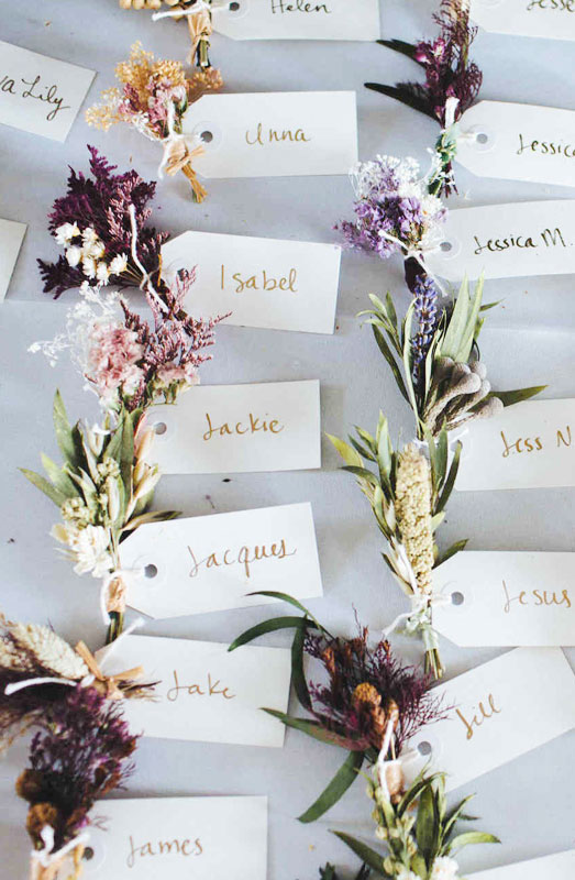 floral wedding name place cards