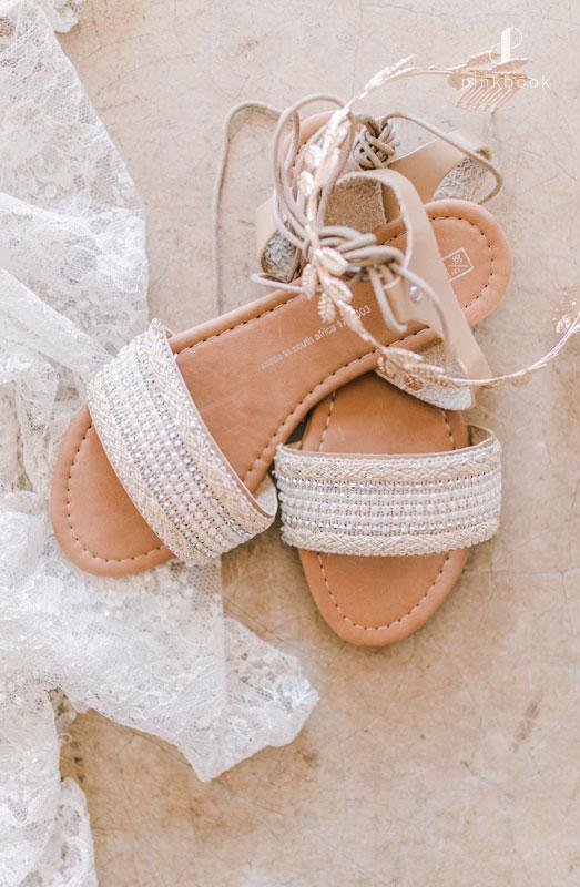 gold beaded wedding sandals