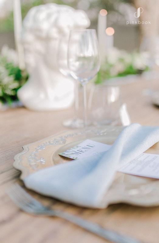 grey wedding table setting