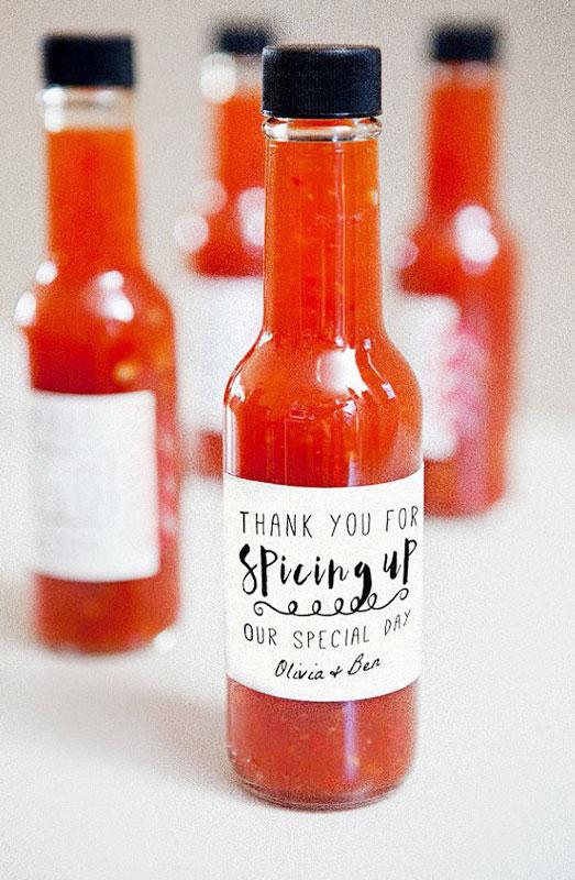 hot sauce wedding favour