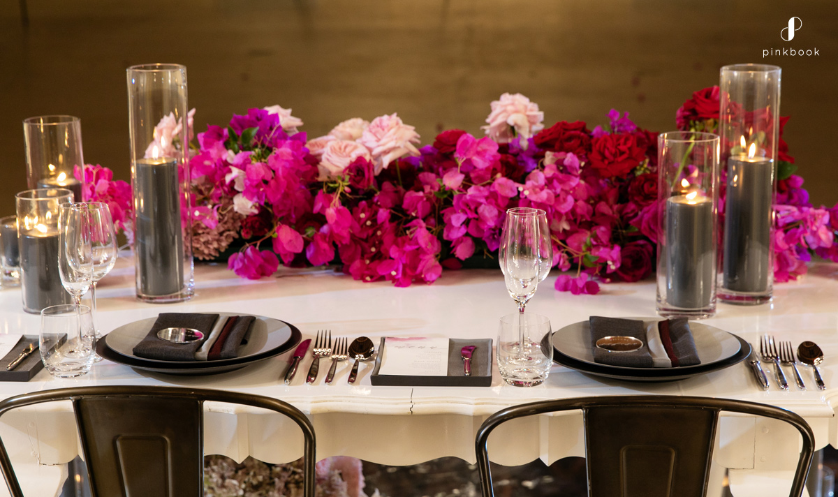 luxury wedding decor rich pink black