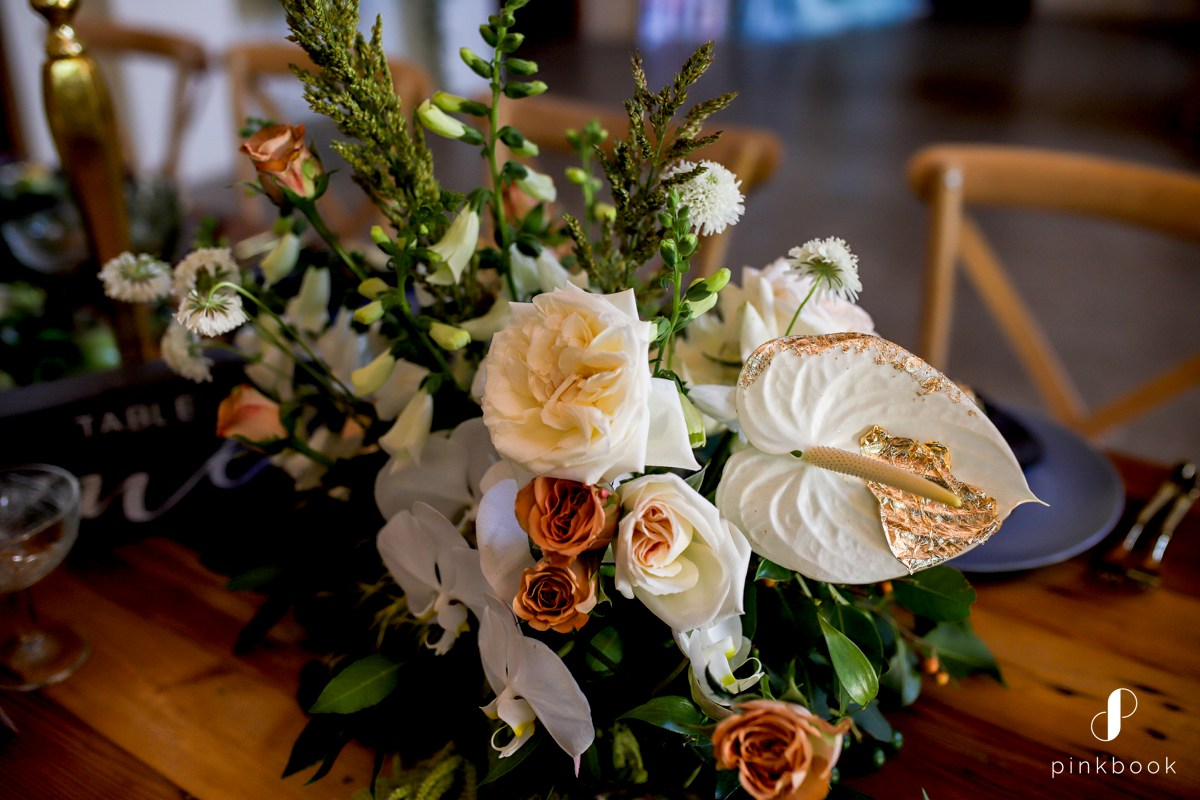 wedding flowers with white and gold