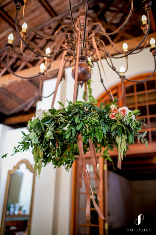 foliage hanging from chandelier