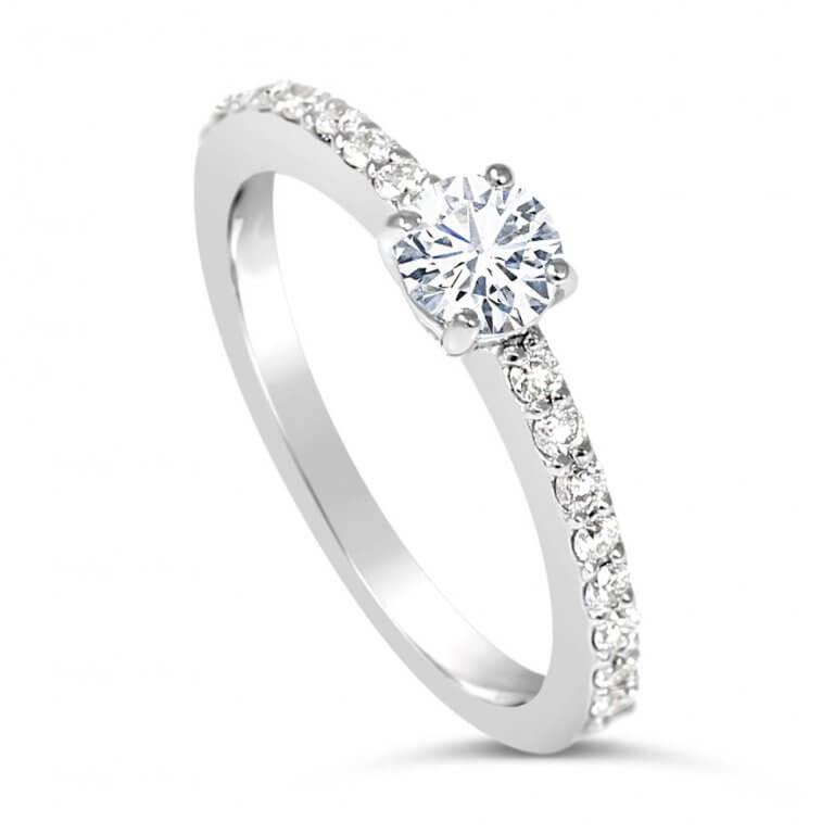 Round Cut Paved Diamond Engagement Ring