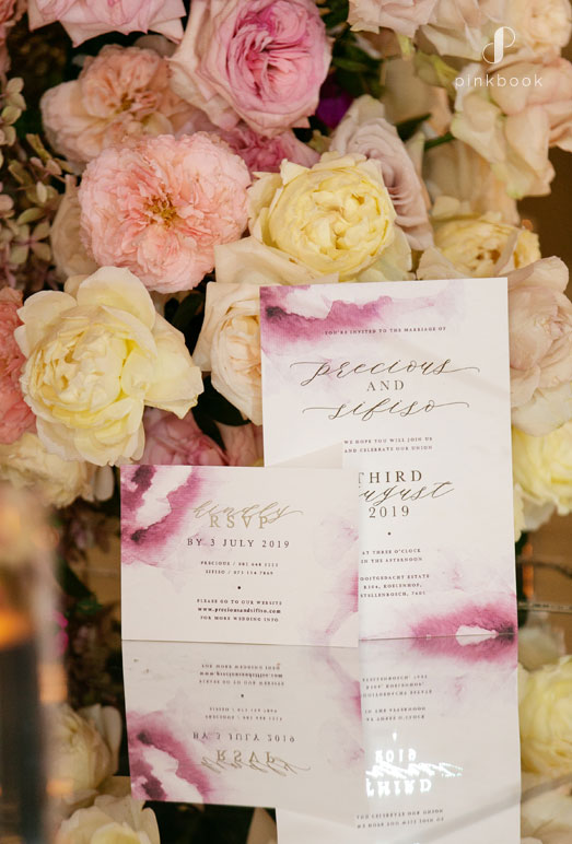 pink floral wedding stationery invitations