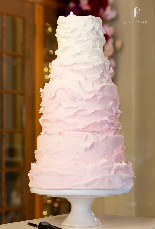 pink ombre ruffled wedding cake