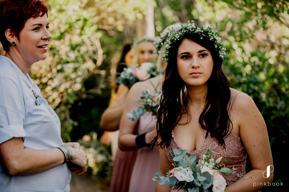 bridesmaids with flower crowns