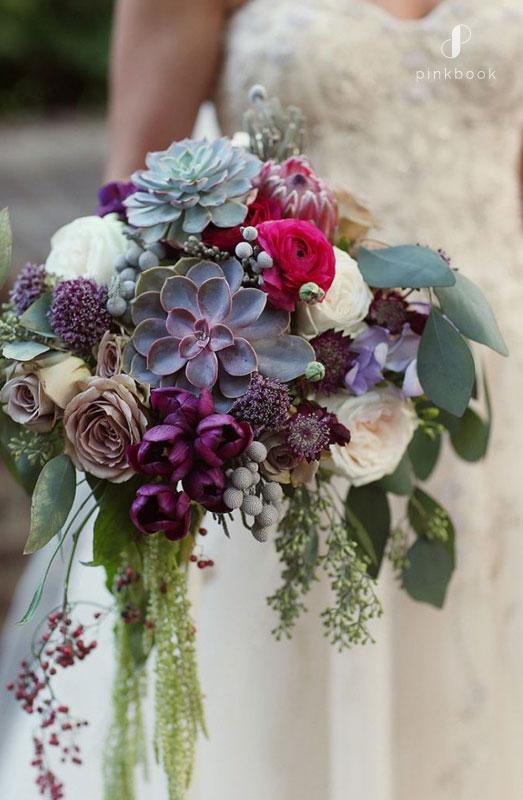 Unique Wedding Bouquet with Succulents