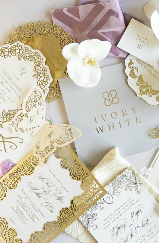 wedding invitations ivory white
