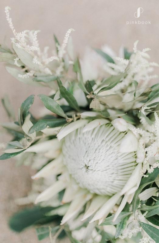 white protea wedding bouquet ideas