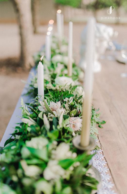white wedding candles