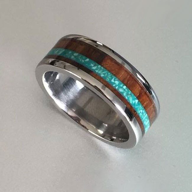wood turquoise ring for men