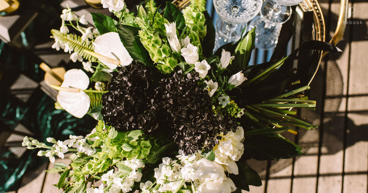 black white and green wedding flowers