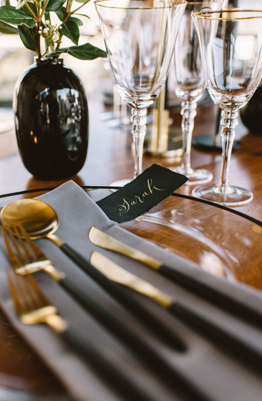black gold cutlery emerald green wedding