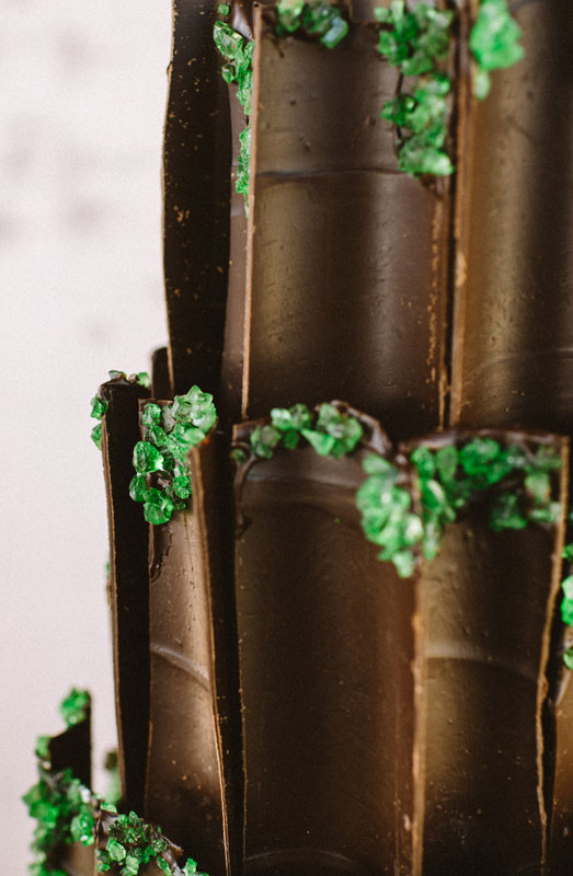 dark chocolate wedding cake emerald green