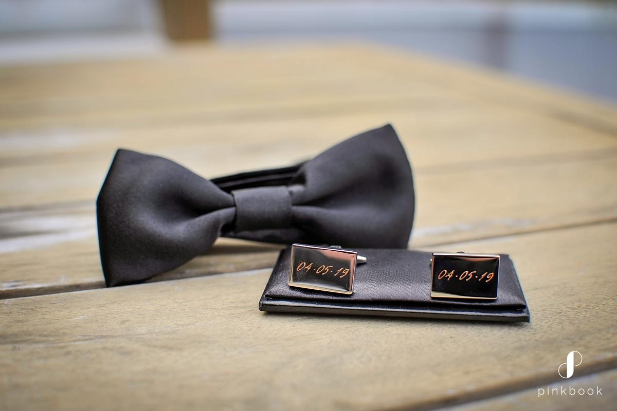 groom bowtie and cufflinks