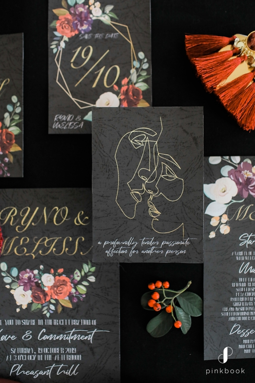 elegant black wedding invitations