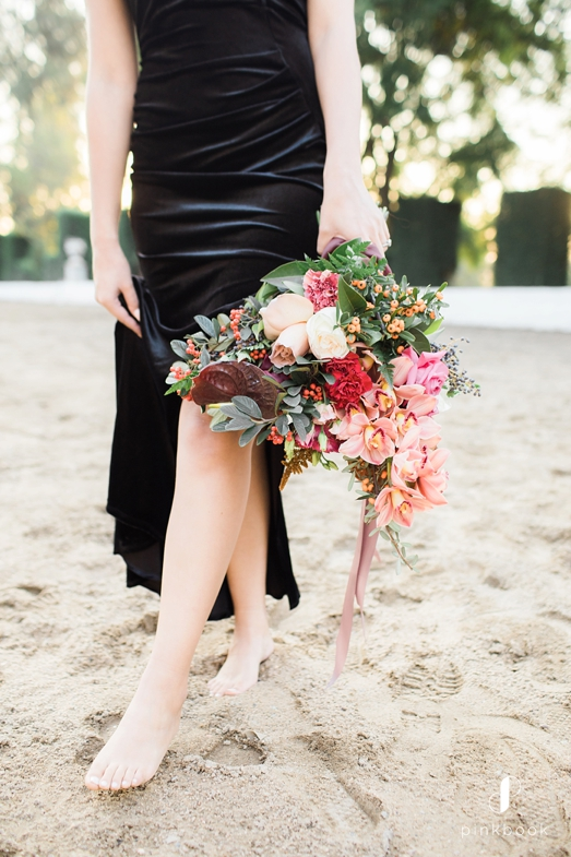 black velvet dress and bouquet
