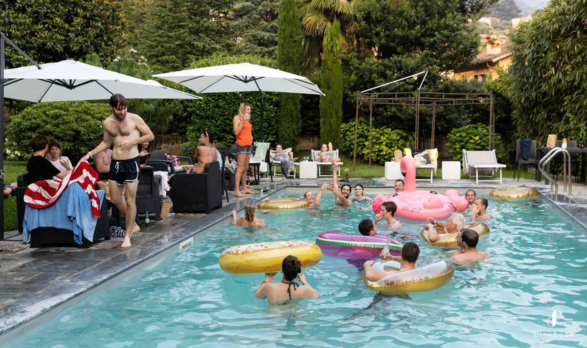 wedding guests in pool