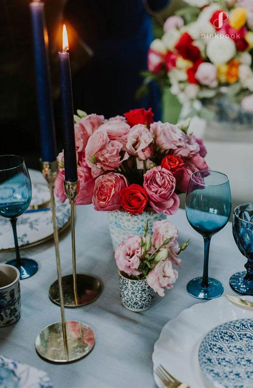 china blue wedding table decor