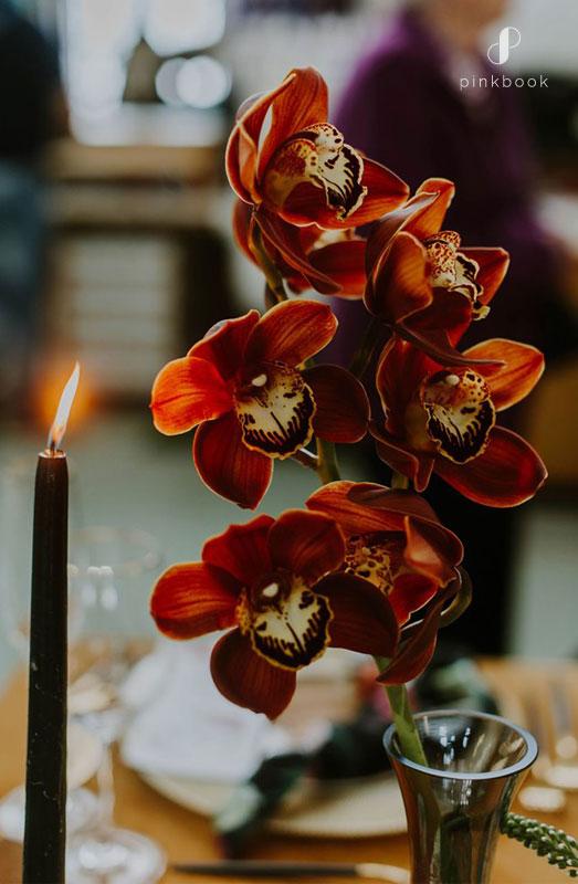 warm orange wedding flowers