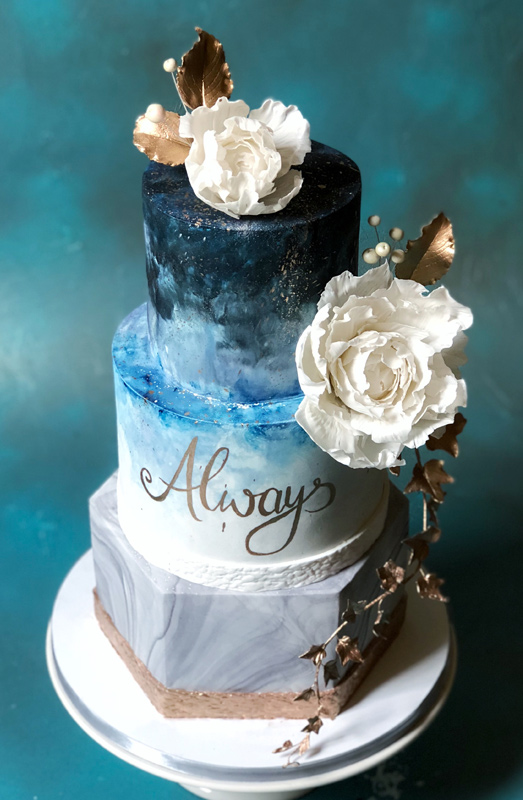 3 tier wedding cake turquoise squirrel