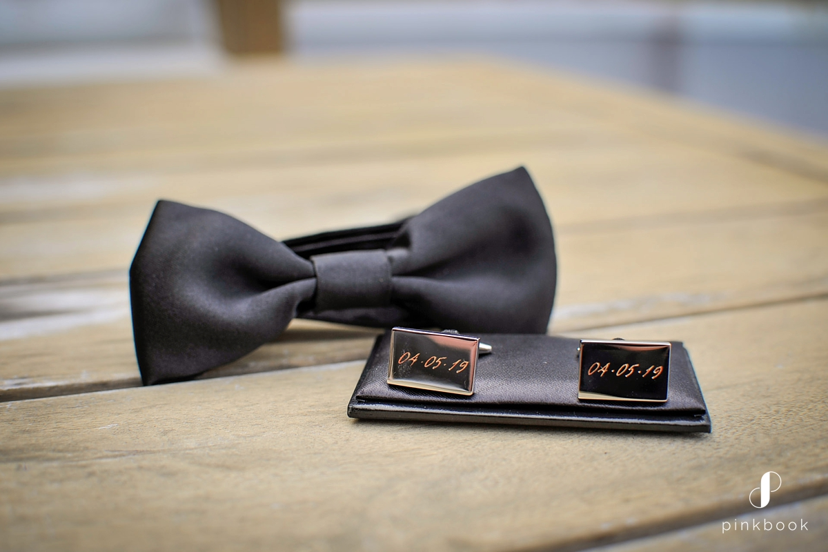 groom bowtie and cufflinks
