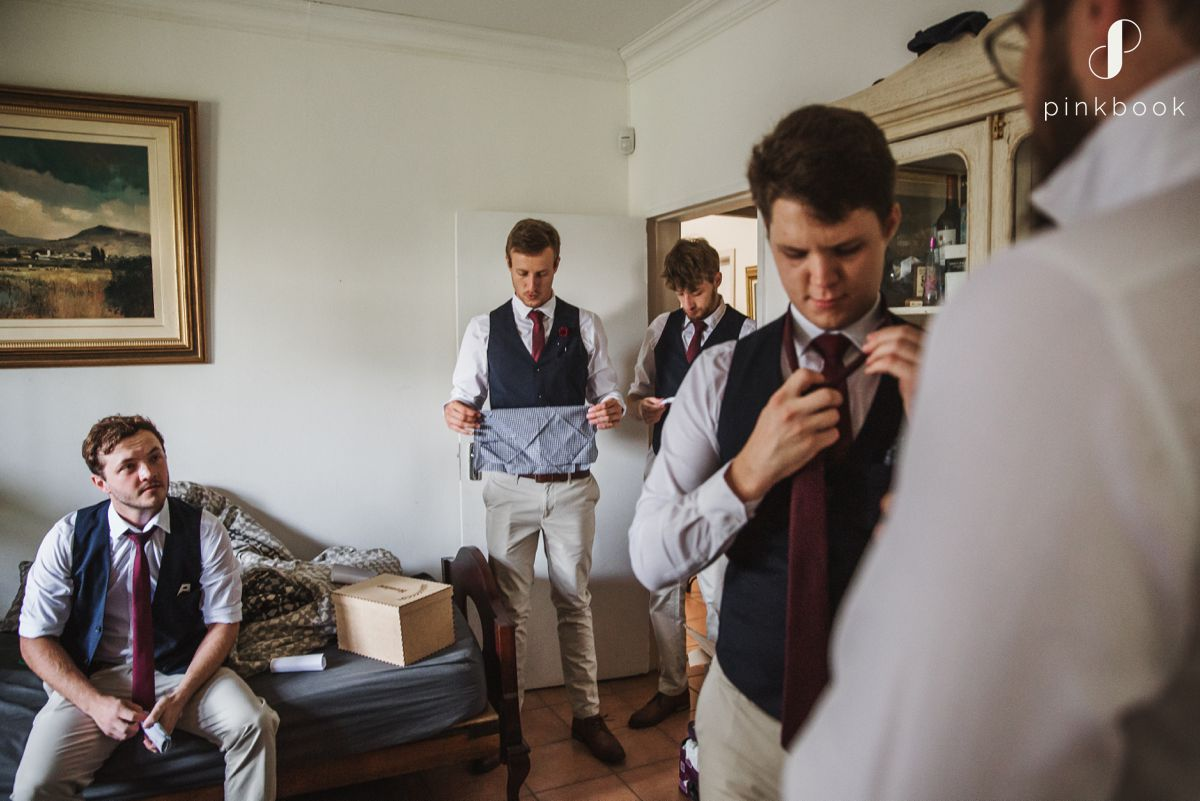 Groom and Groomsmen Preparing