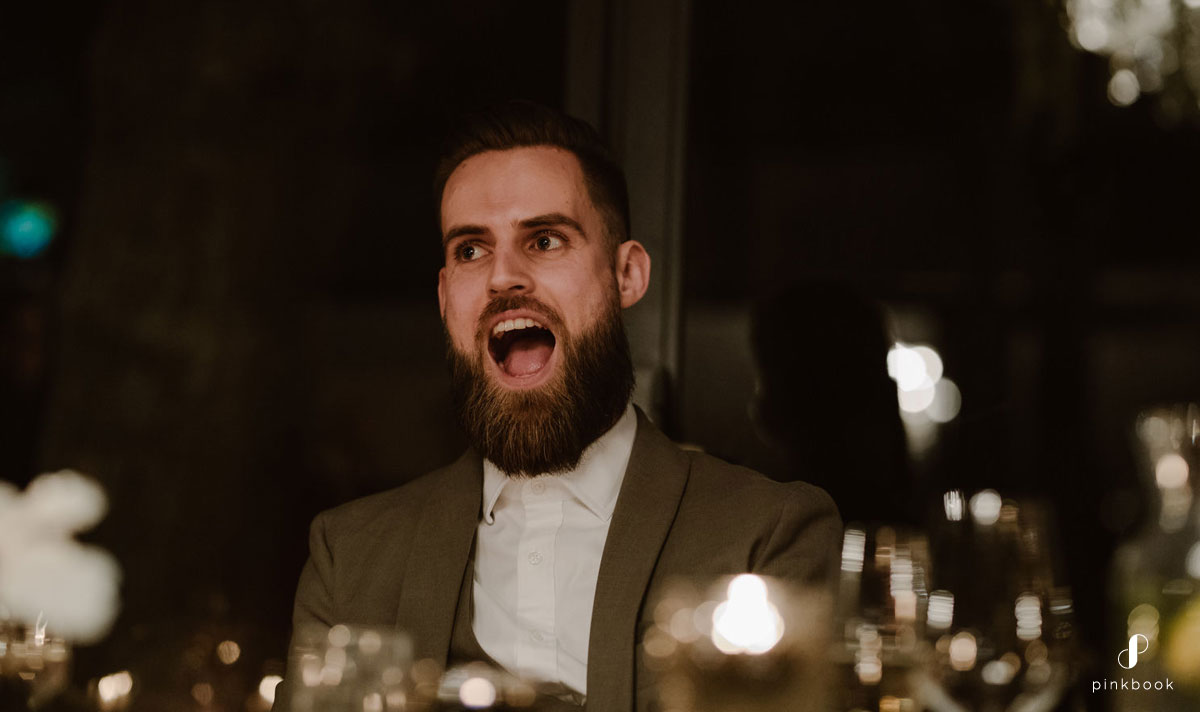 Groom with a shocked look on his face