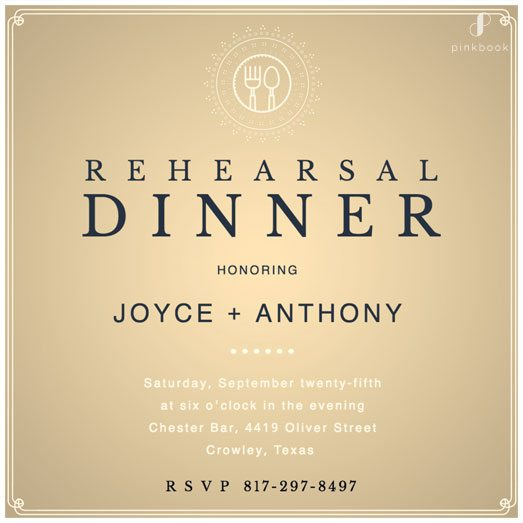 Gold Rehearsal Dinner Invitation