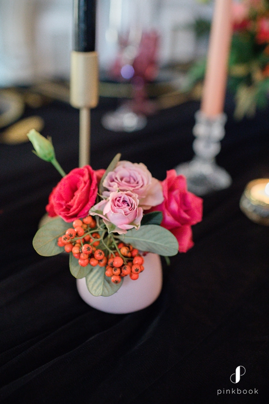 black and pink table decor
