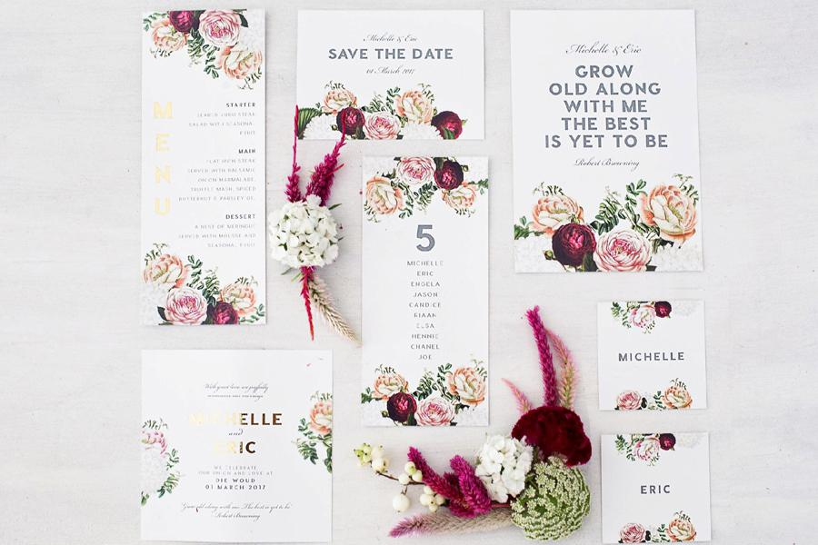Pretty In Stains Cape Town Wedding Invitations