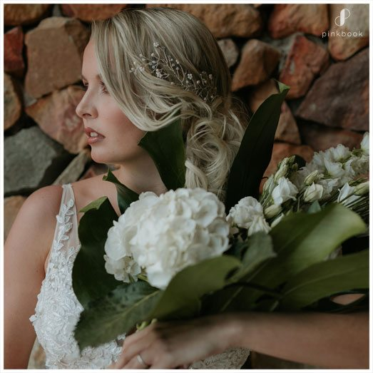 Close up of bride with flowers