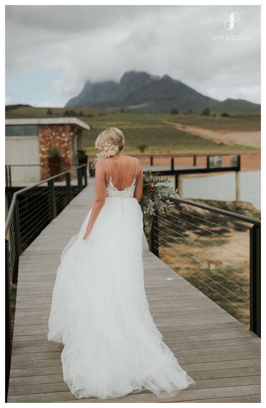 bride on a boardwalk